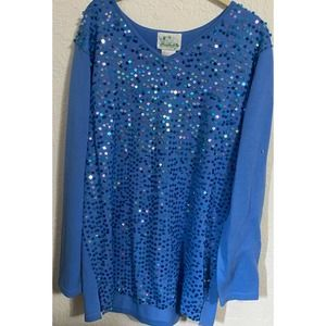 QUACKER FACTORY Scatter Sequin Sweater Blue Large NWT party holiday